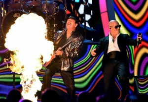 Latin Grammy Awards will be live from Las Vegas. Pictured: Carlos Santana with Pitbull.