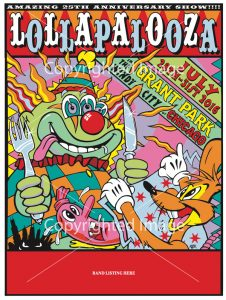 Official Lolla Poster by the artist Kozik