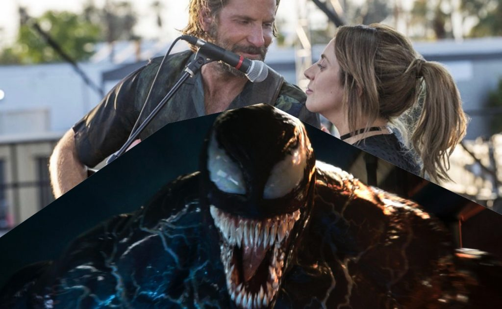 Lady Gaga in 'A Star Is Born' opens the same weekend as 'Venom' with Tom Hardy